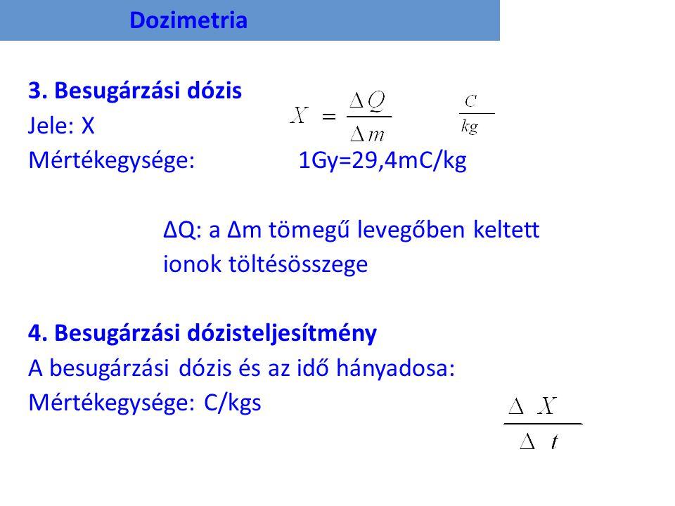 Dozimetria 3. Besugárzási dózis. Jele: X. Mértékegysége: 1Gy=29,4mC/kg. ΔQ: a Δm tömegű levegőben keltett.