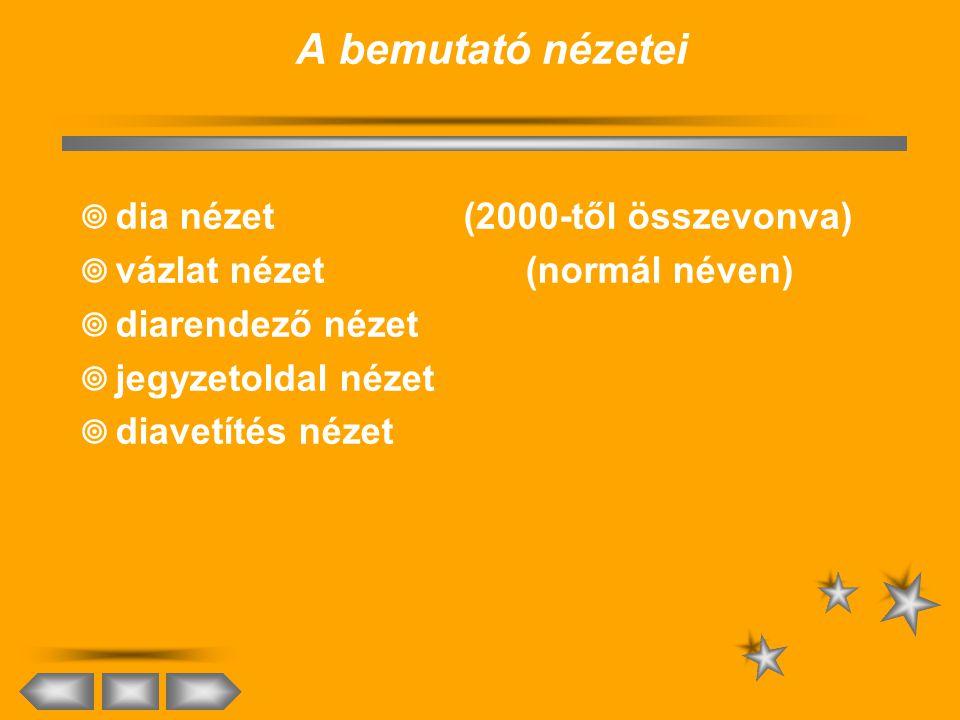 A bemutató nézetei dia nézet (2000-től összevonva)