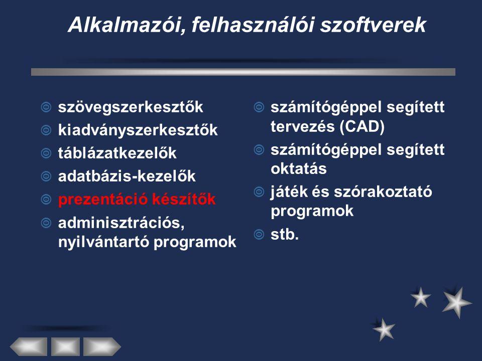 Alkalmazói, felhasználói szoftverek