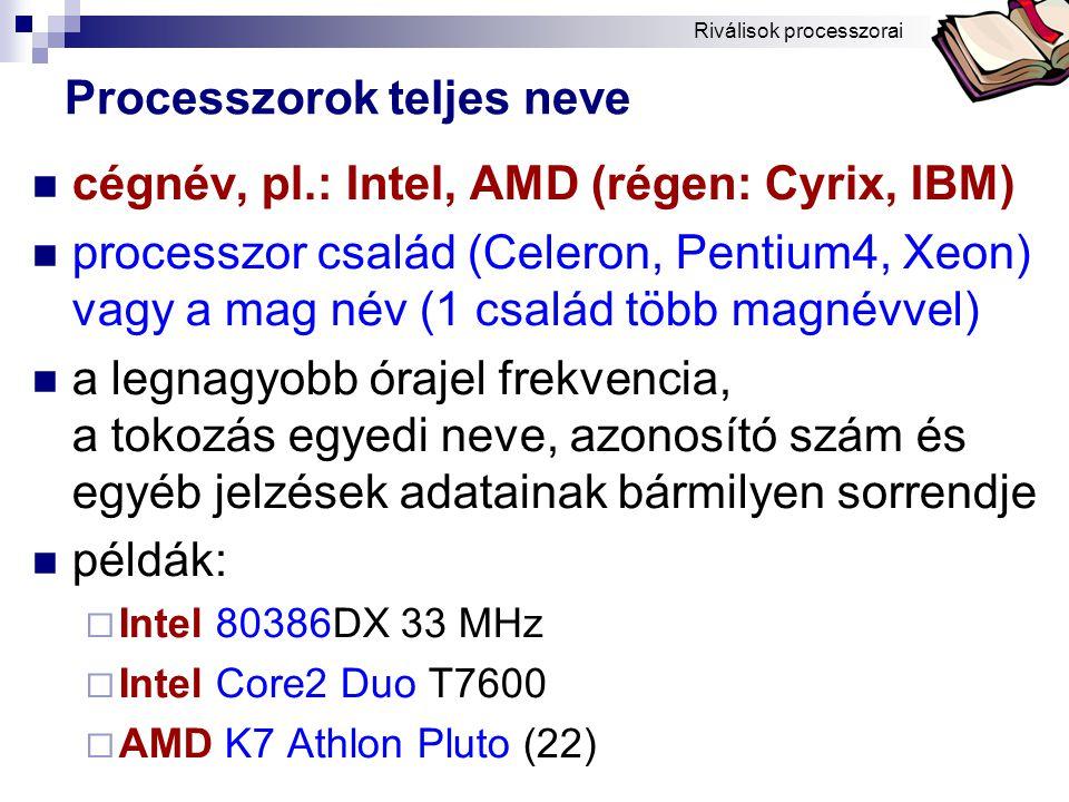 Processzorok teljes neve