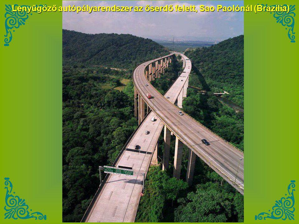 Lenyűgöző autópályarendszer az őserdő felett, Sao Paolónál (Brazília)