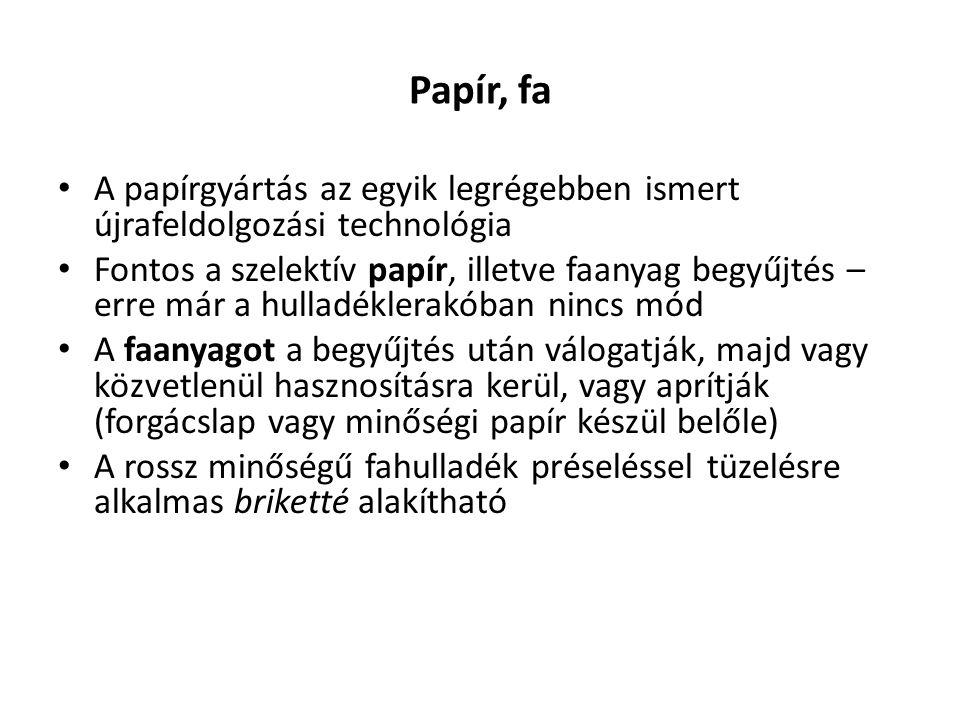 Papír, fa A papírgyártás az egyik legrégebben ismert újrafeldolgozási technológia.