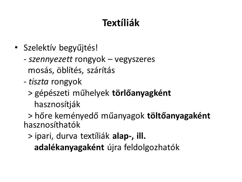 Textíliák Szelektív begyűjtés! - szennyezett rongyok – vegyszeres