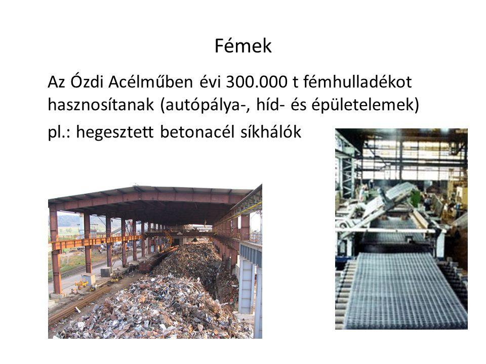 Fémek Az Ózdi Acélműben évi 300.000 t fémhulladékot hasznosítanak (autópálya-, híd- és épületelemek)