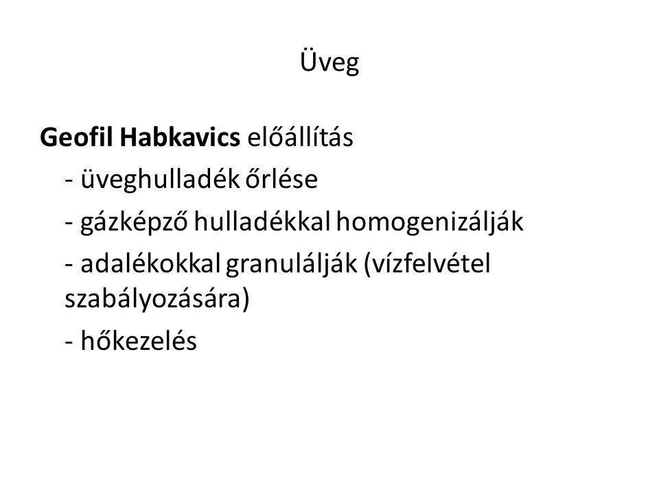 Üveg Geofil Habkavics előállítás. - üveghulladék őrlése. - gázképző hulladékkal homogenizálják.