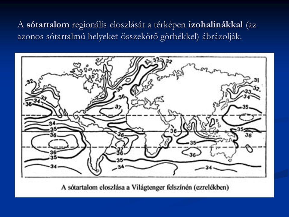 A sótartalom regionális eloszlását a térképen izohalinákkal (az azonos sótartalmú helyeket összekötő görbékkel) ábrázolják.