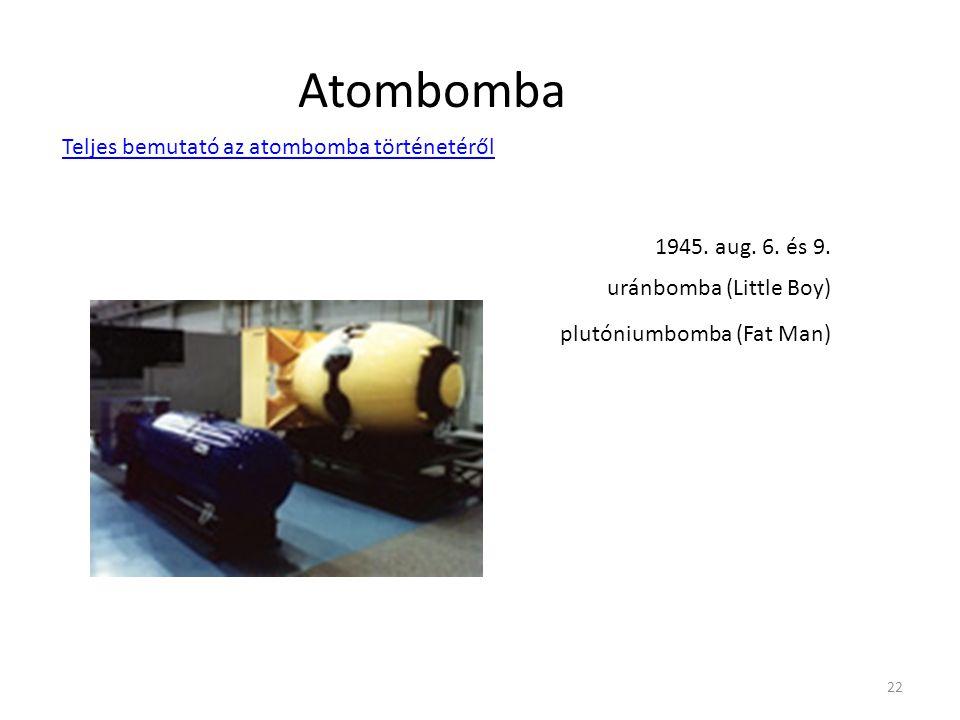 Atombomba Teljes bemutató az atombomba történetéről