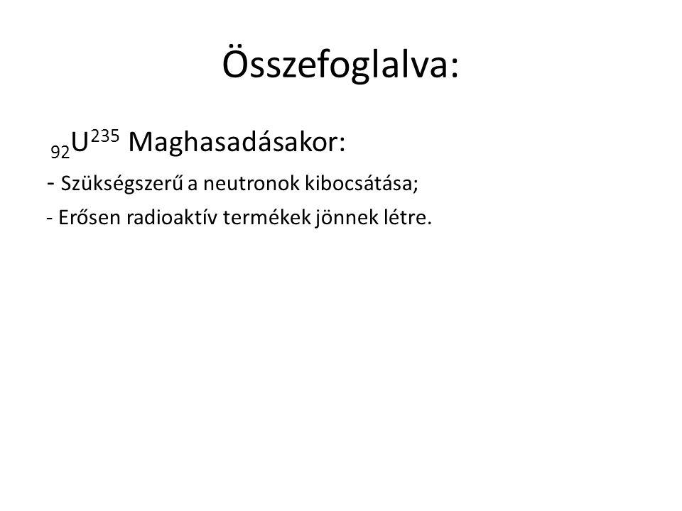 Összefoglalva: 92U235 Maghasadásakor: