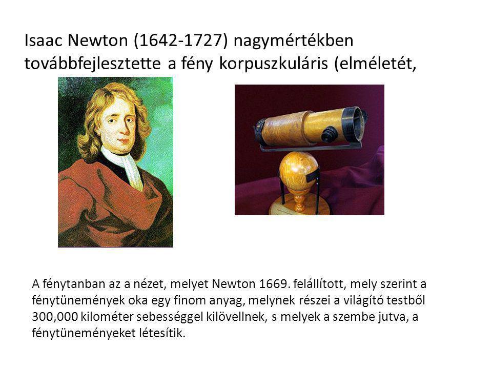 Isaac Newton (1642-1727) nagymértékben továbbfejlesztette a fény korpuszkuláris (elméletét,