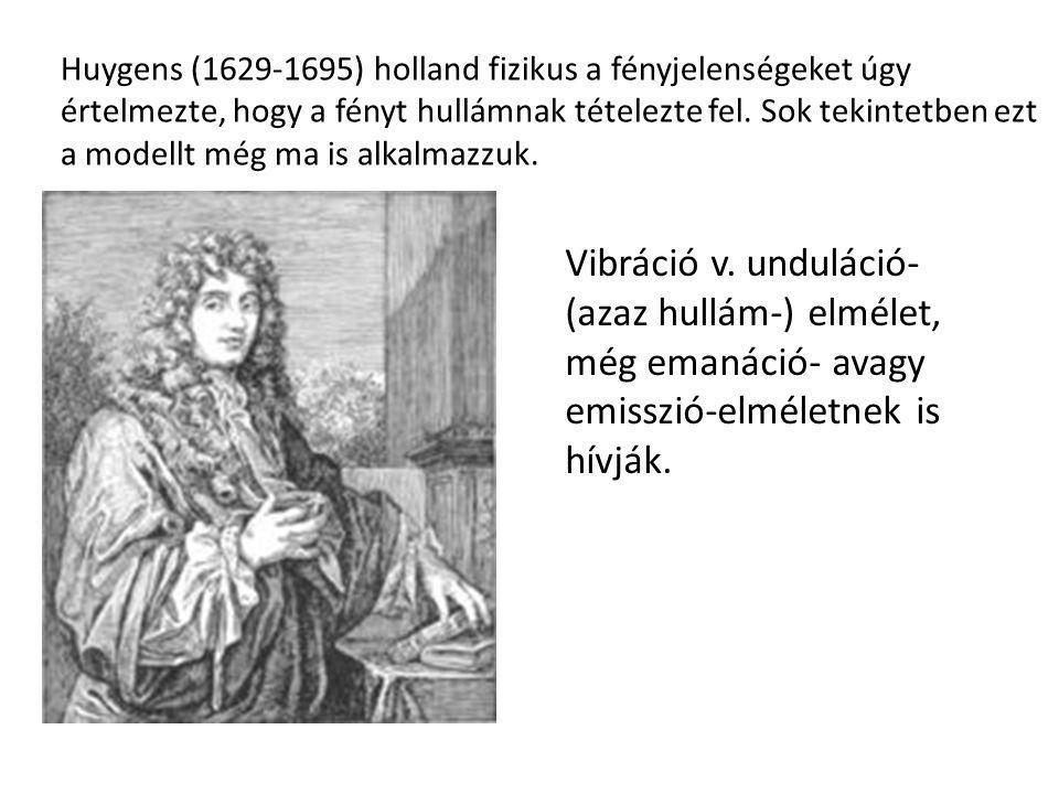 Huygens (1629-1695) holland fizikus a fényjelenségeket úgy értelmezte, hogy a fényt hullámnak tételezte fel. Sok tekintetben ezt a modellt még ma is alkalmazzuk.