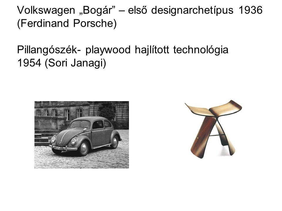 """Volkswagen """"Bogár – első designarchetípus 1936 (Ferdinand Porsche) Pillangószék- playwood hajlított technológia 1954 (Sori Janagi)"""