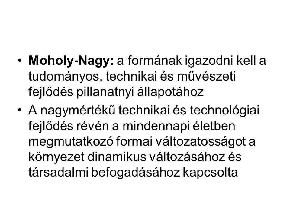 Moholy-Nagy: a formának igazodni kell a tudományos, technikai és művészeti fejlődés pillanatnyi állapotához