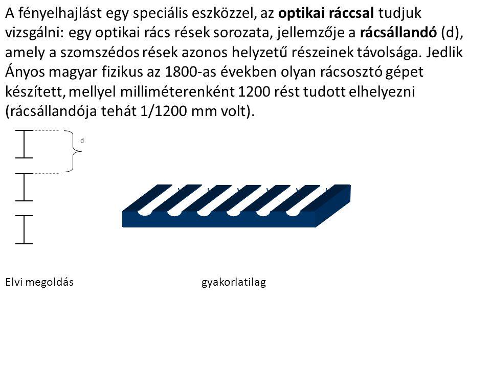 A fényelhajlást egy speciális eszközzel, az optikai ráccsal tudjuk vizsgálni: egy optikai rács rések sorozata, jellemzője a rácsállandó (d), amely a szomszédos rések azonos helyzetű részeinek távolsága. Jedlik Ányos magyar fizikus az 1800-as években olyan rácsosztó gépet készített, mellyel milliméterenként 1200 rést tudott elhelyezni (rácsállandója tehát 1/1200 mm volt).