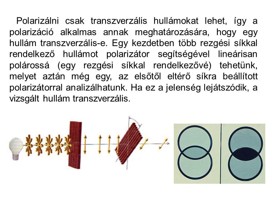 Polarizálni csak transzverzális hullámokat lehet, így a polarizáció alkalmas annak meghatározására, hogy egy hullám transzverzális-e.