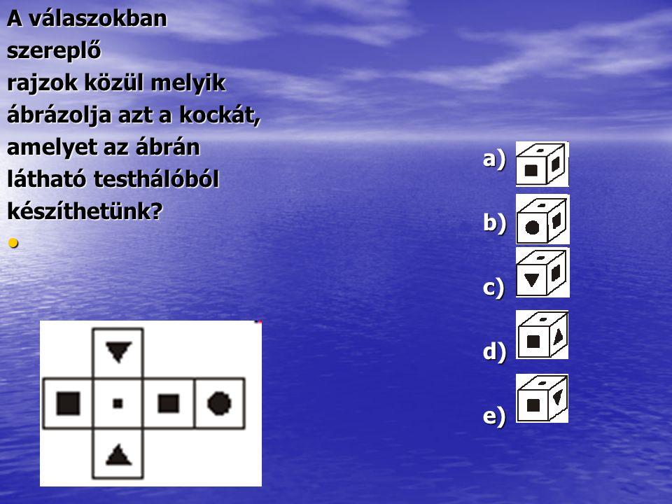 A válaszokban szereplő. rajzok közül melyik. ábrázolja azt a kockát, amelyet az ábrán. látható testhálóból.