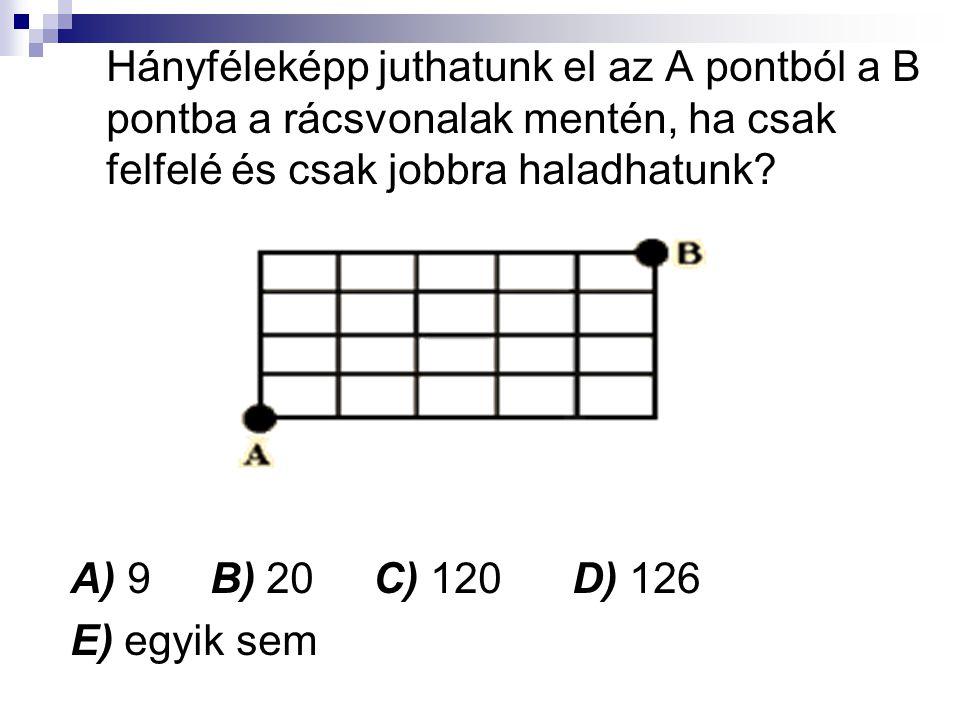 Hányféleképp juthatunk el az A pontból a B pontba a rácsvonalak mentén, ha csak felfelé és csak jobbra haladhatunk.