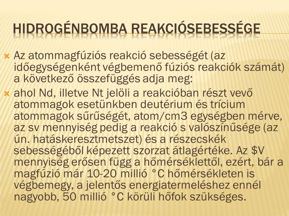 Hidrogénbomba reakciósebessége