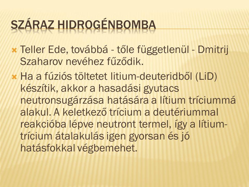 Száraz hidrogénbomba Teller Ede, továbbá - tőle függetlenül - Dmitrij Szaharov nevéhez fűződik.