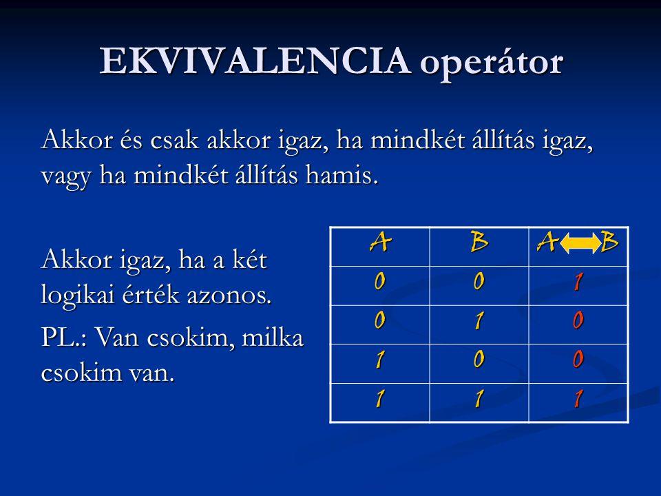 EKVIVALENCIA operátor