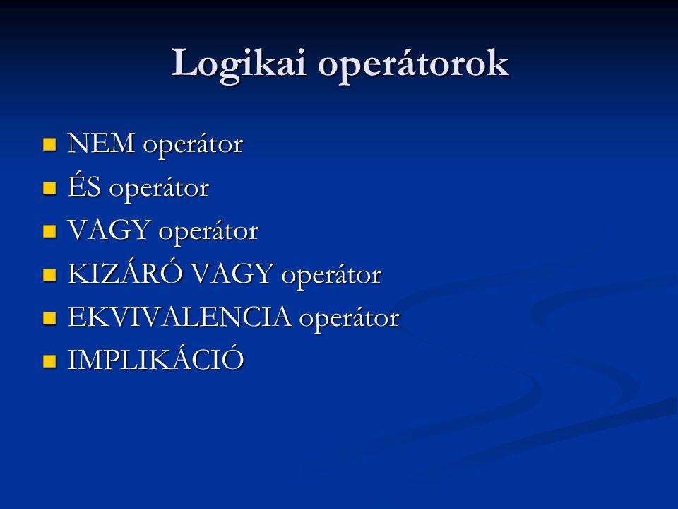 Logikai operátorok NEM operátor ÉS operátor VAGY operátor