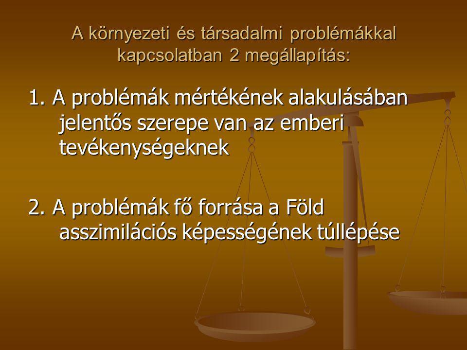 A környezeti és társadalmi problémákkal kapcsolatban 2 megállapítás: