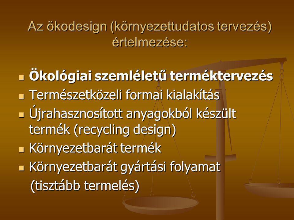 Az ökodesign (környezettudatos tervezés) értelmezése: