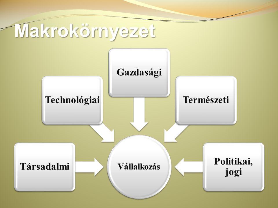 Makrokörnyezet Vállalkozás Politikai, jogi Természeti Gazdasági
