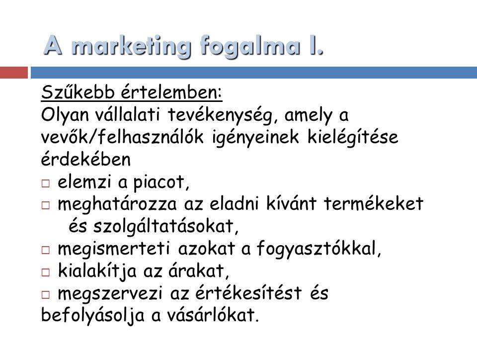 A marketing fogalma I. Szűkebb értelemben: