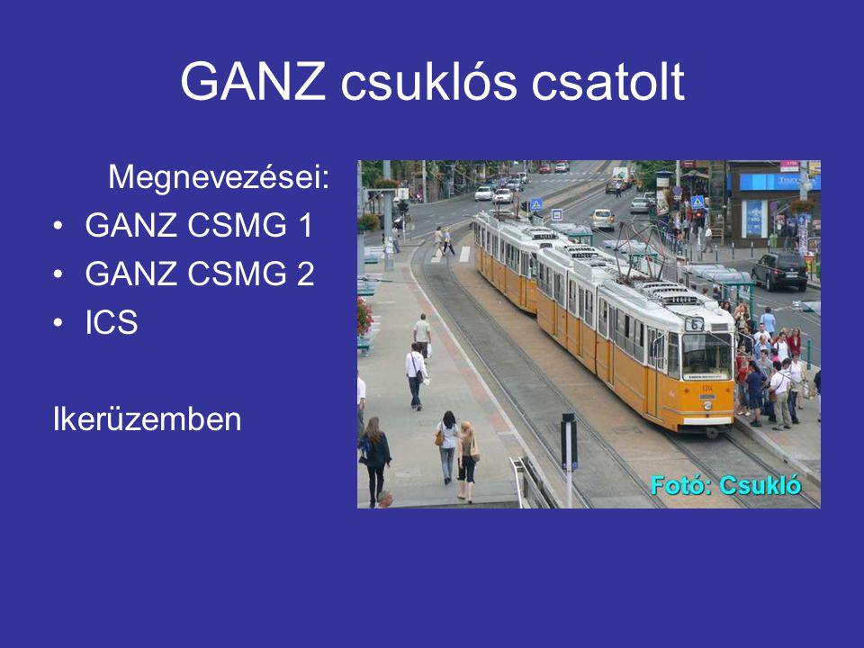 GANZ csuklós csatolt Megnevezései: GANZ CSMG 1 GANZ CSMG 2 ICS