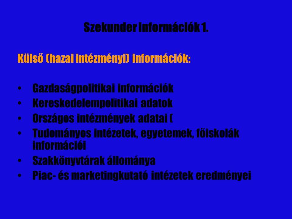 Szekunder információk 1.