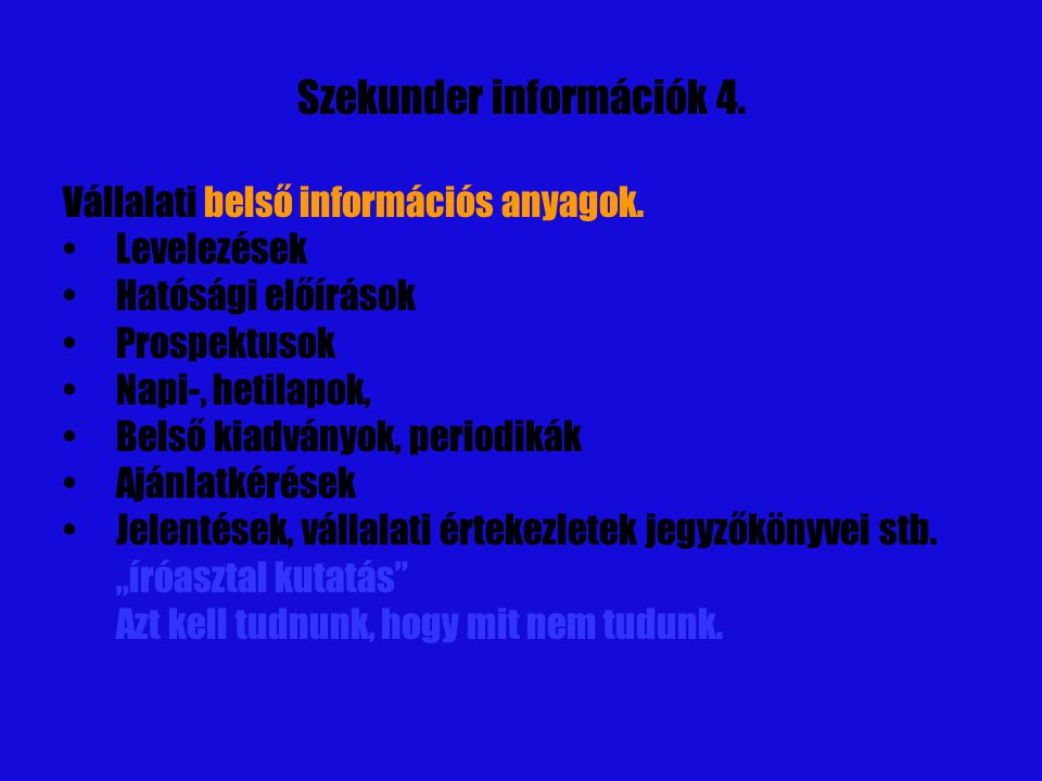 Szekunder információk 4.