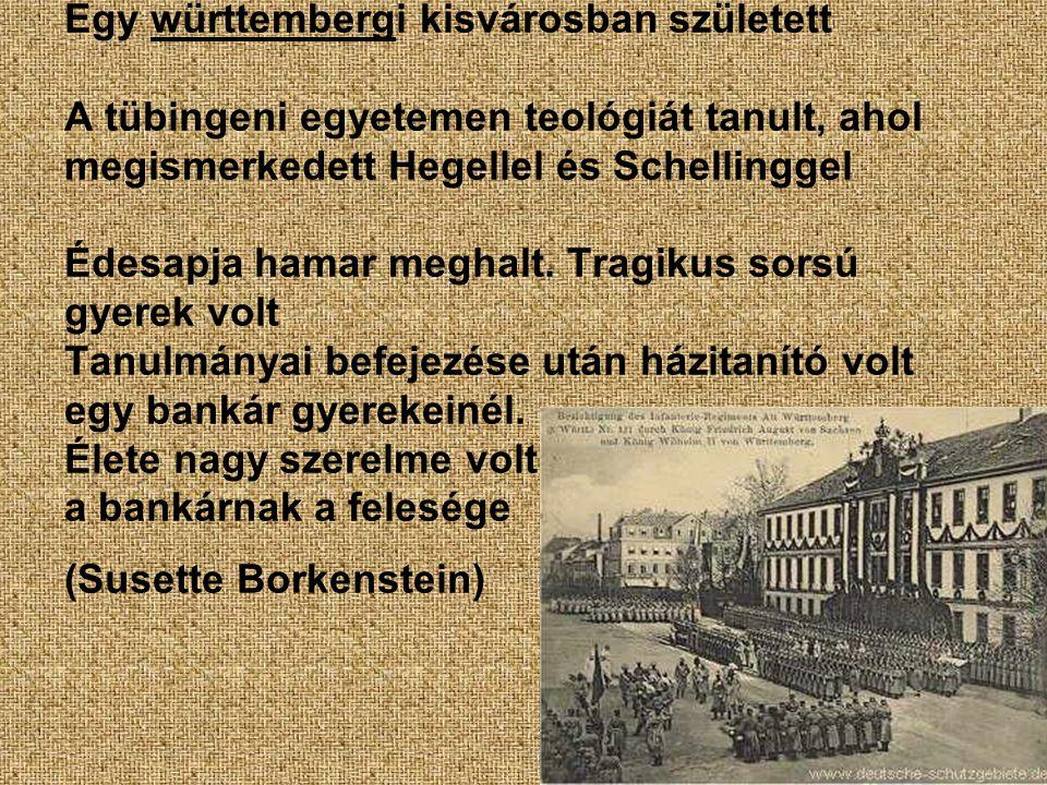 Egy württembergi kisvárosban született A tübingeni egyetemen teológiát tanult, ahol megismerkedett Hegellel és Schellinggel Édesapja hamar meghalt.