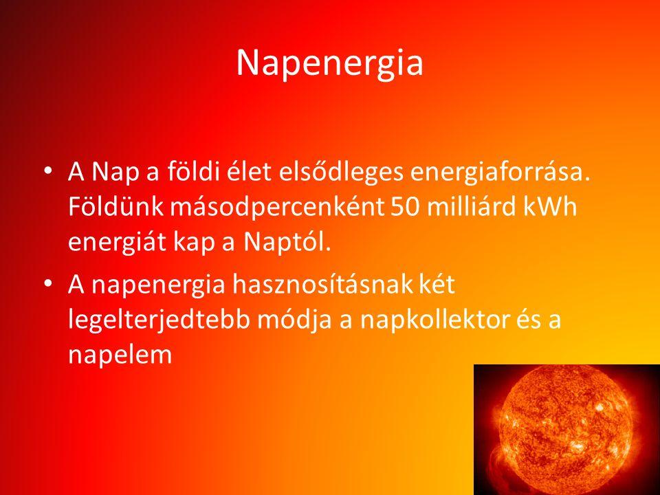Napenergia A Nap a földi élet elsődleges energiaforrása. Földünk másodpercenként 50 milliárd kWh energiát kap a Naptól.