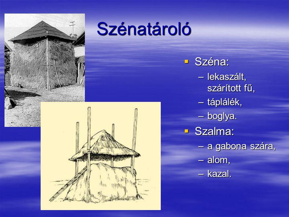 Szénatároló Széna: Szalma: lekaszált, szárított fű, táplálék, boglya.