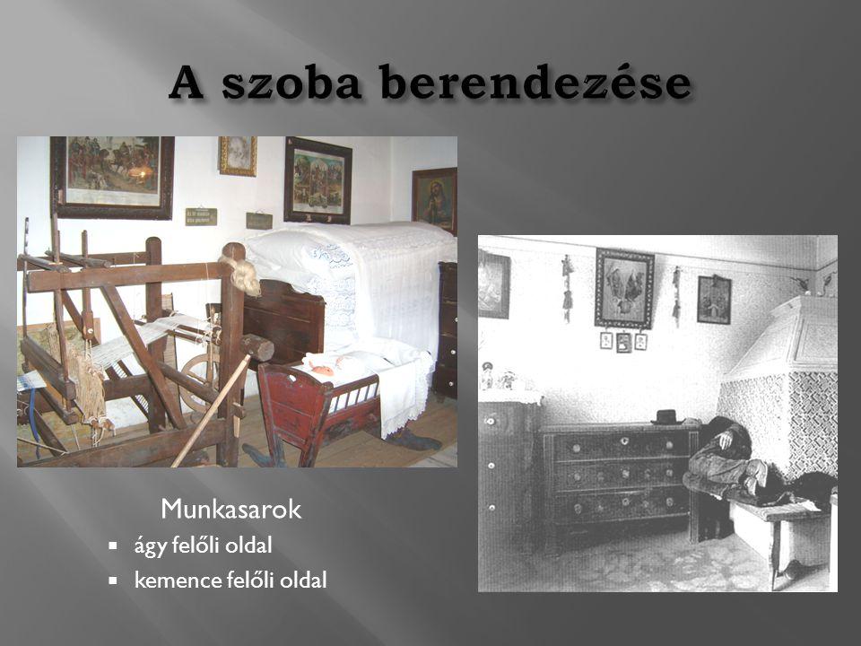 A szoba berendezése Munkasarok ágy felőli oldal kemence felőli oldal