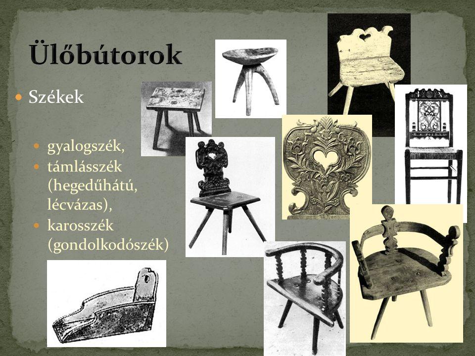Ülőbútorok Székek gyalogszék, támlásszék (hegedűhátú, lécvázas),