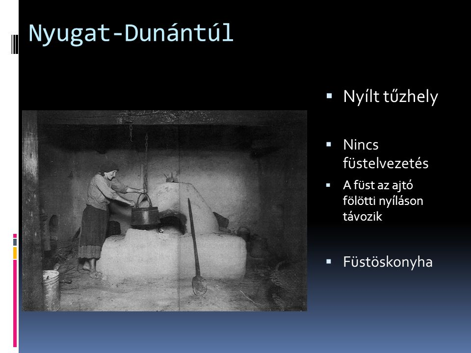 Nyugat-Dunántúl Nyílt tűzhely Nincs füstelvezetés Füstöskonyha