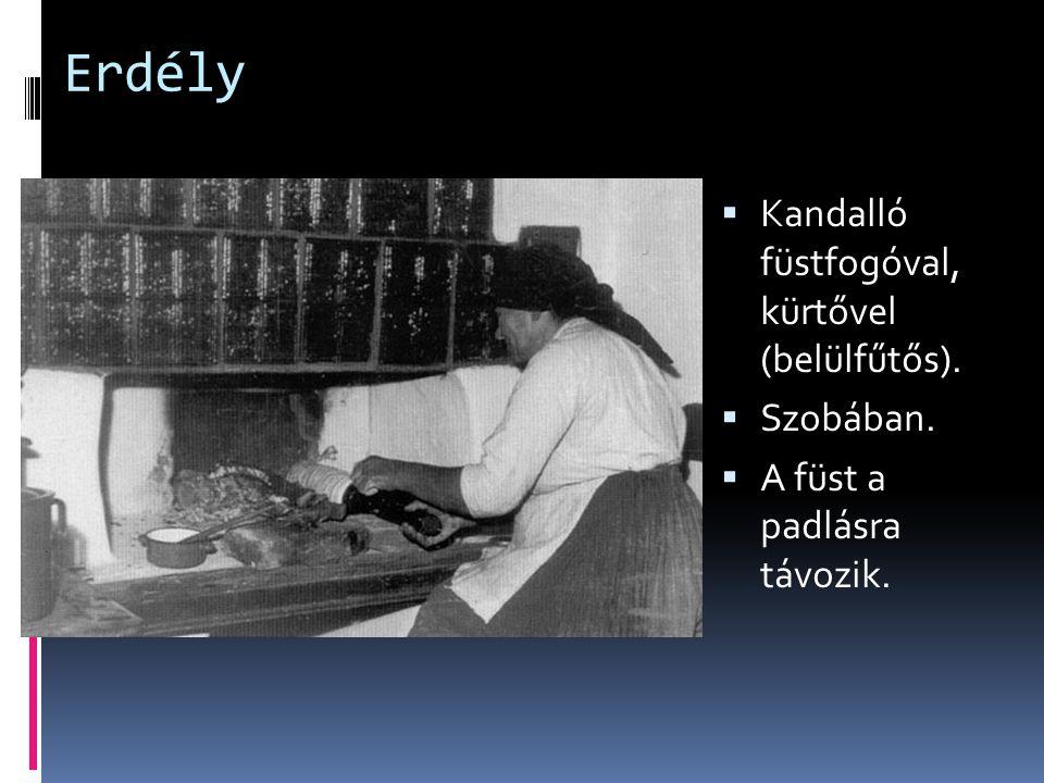 Erdély Kandalló füstfogóval, kürtővel (belülfűtős). Szobában.