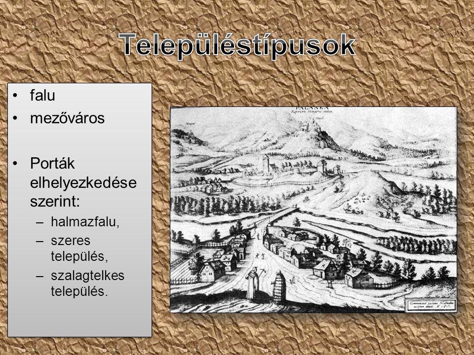Településtípusok falu mezőváros Porták elhelyezkedése szerint: