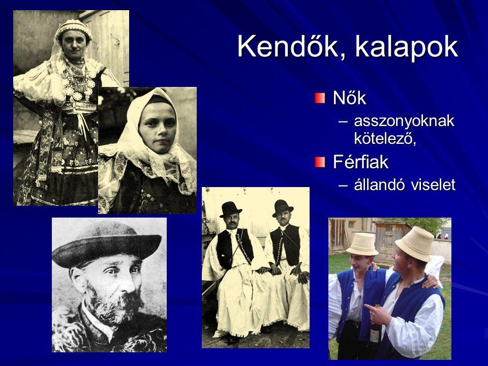 Kendők, kalapok Nők asszonyoknak kötelező, Férfiak állandó viselet