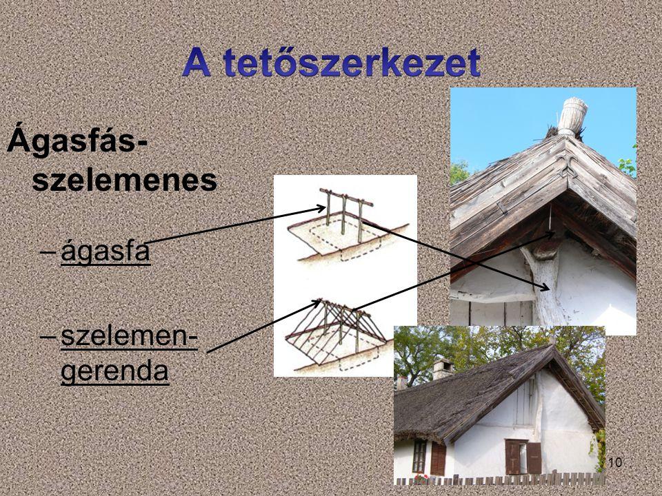 A tetőszerkezet Ágasfás-szelemenes ágasfa szelemen-gerenda