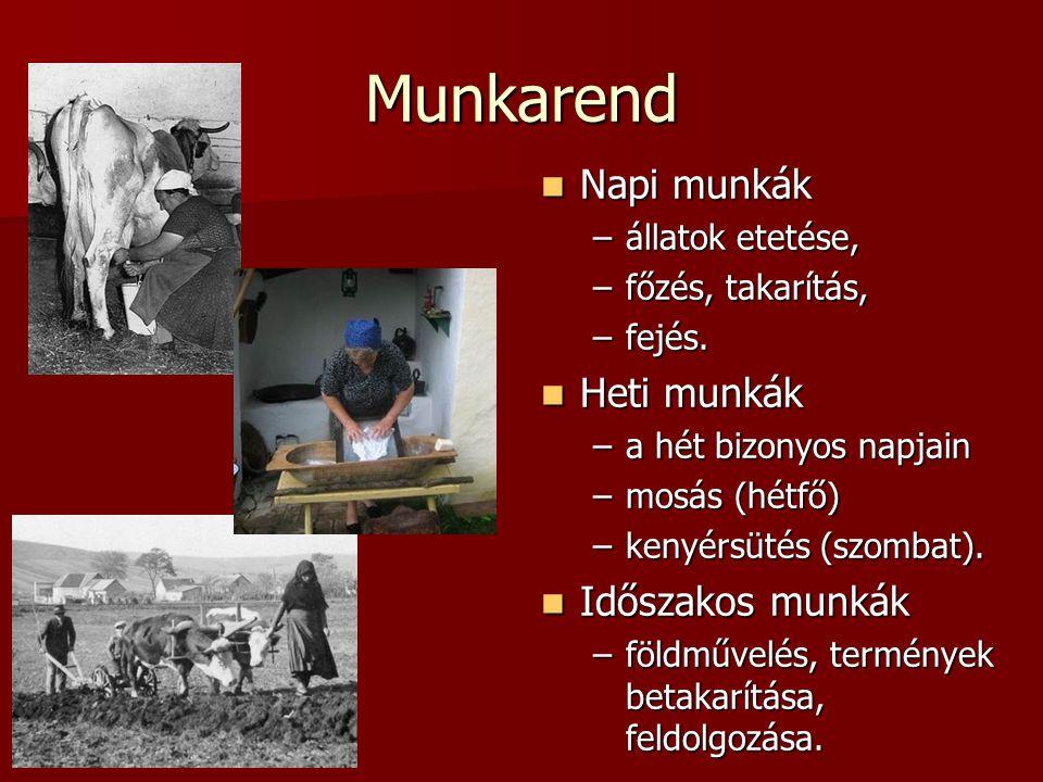 Munkarend Napi munkák Heti munkák Időszakos munkák állatok etetése,