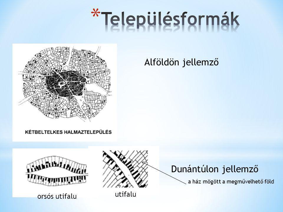 Településformák Alföldön jellemző Dunántúlon jellemző