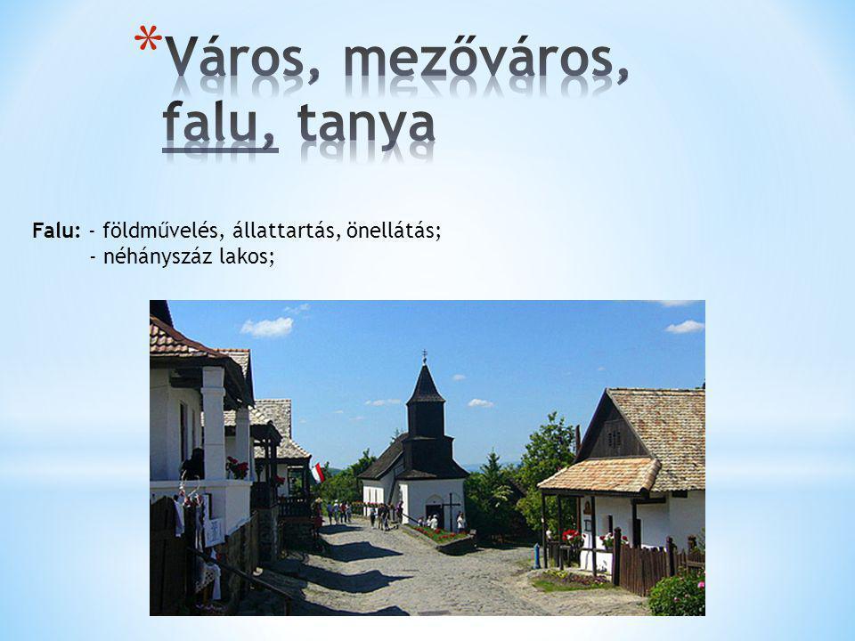 Város, mezőváros, falu, tanya