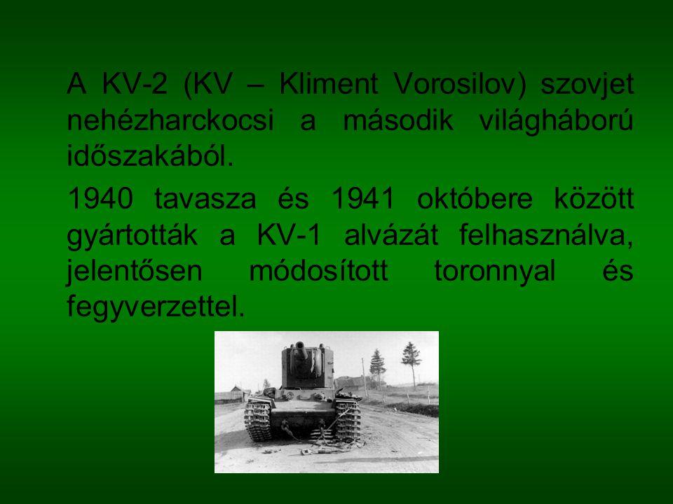 A KV-2 (KV – Kliment Vorosilov) szovjet nehézharckocsi a második világháború időszakából.