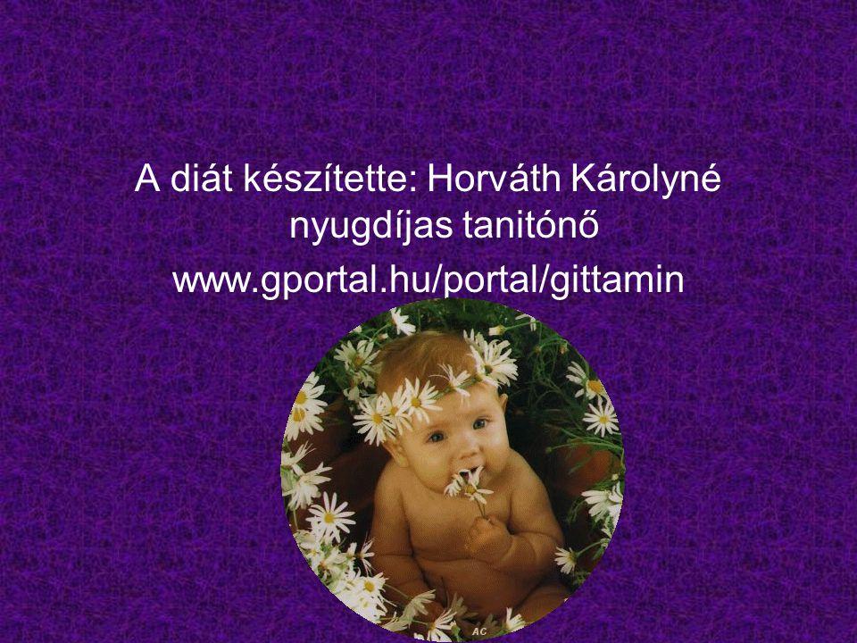 A diát készítette: Horváth Károlyné nyugdíjas tanitónő