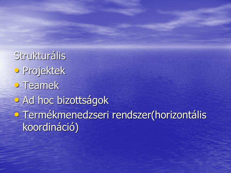 Strukturális Projektek. Teamek. Ad hoc bizottságok.