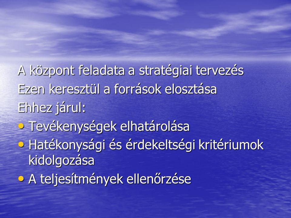 A központ feladata a stratégiai tervezés
