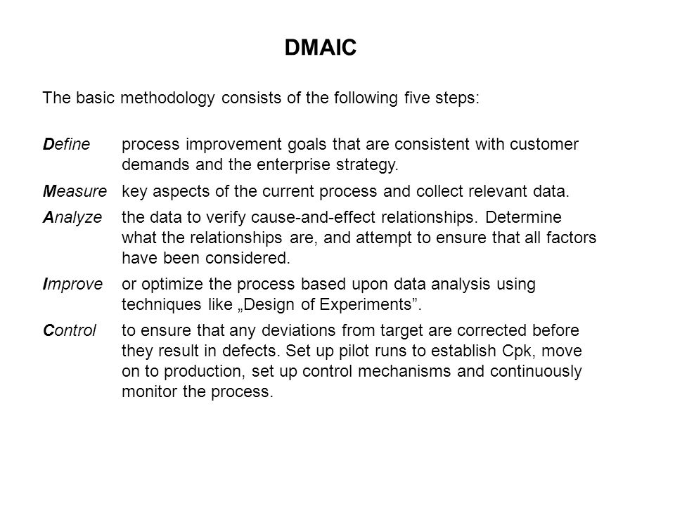 DMAIC The basic methodology consists of the following five steps: