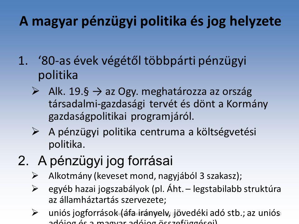 A magyar pénzügyi politika és jog helyzete